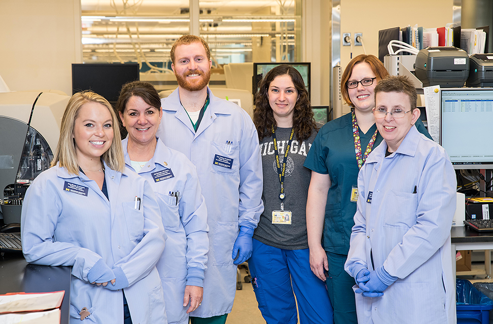 Flow Laboratory Team: (left to right) Kara Bureau, MLS (ASCP), Julie Bensinger MT (ASCP), Conor Daining MLS (ASCP), Kelsey Fisher MLS (ASCP), Jaclyn Epple MLS (ASCP), and Laurie Gable MT (ASCP); Not pictured: Alicia Kuzia MLS (ASCP) and Sheri McLelland MT (ASCP).
