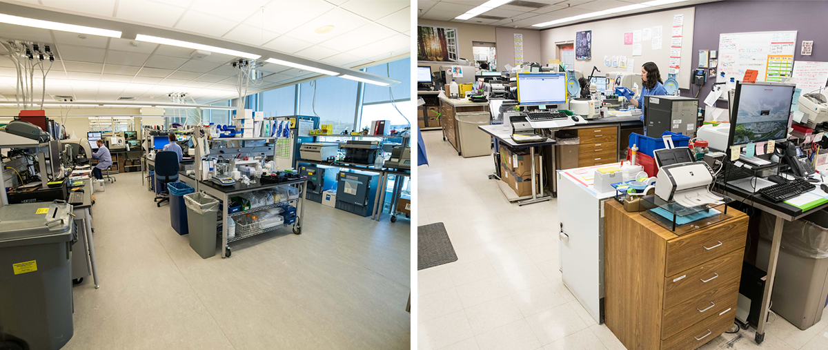 (Left to Right) New laboratory at the NCRC; Old lab used at the University Hospital.