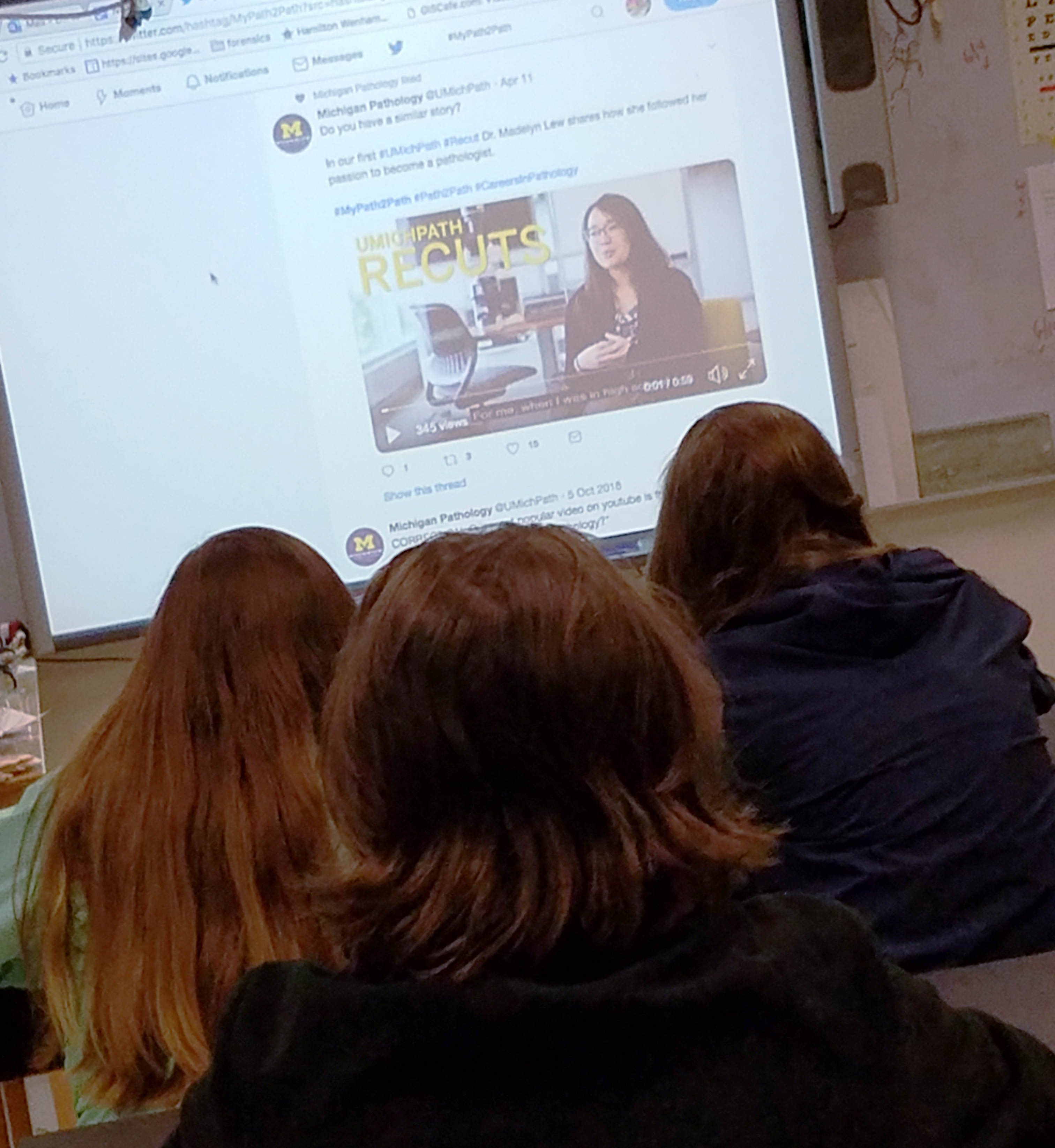 Deb Clapp's classroom watching Dr. Lew's #MyPath2Path